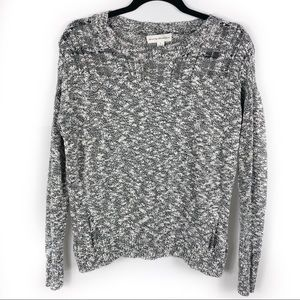 White + Warren Marled Open Weave Sweater Pullover